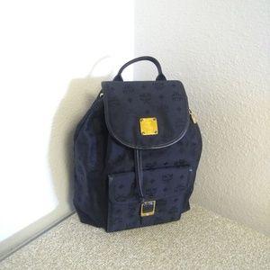 MCM Black Signature Leather Trim Backpack